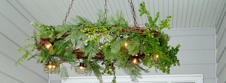 Grapevine wreath chandelier urban cottage living i attached everything with my favorite floral wire it is durable and i like how the paddle is small so i can wrap it around and easily weave it in and out aloadofball Choice Image