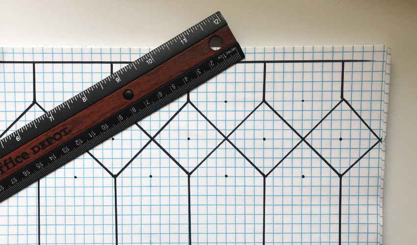 faux leaded glass window pattern on drawn on graph paper with a ruler