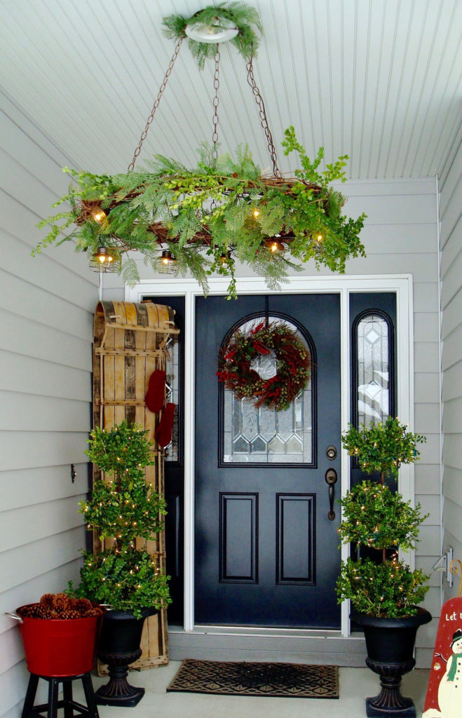 front porch at Christmas